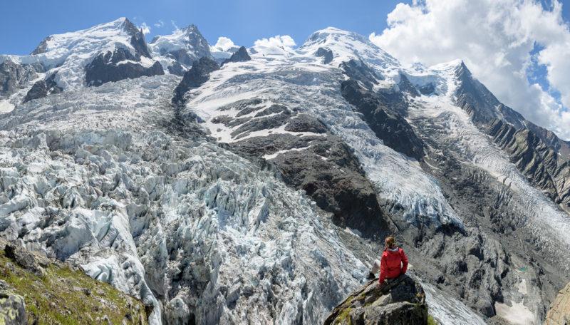 La Jonction sommet de la randonnée. Glacier des Bossons et Aiguilles de Chamonix