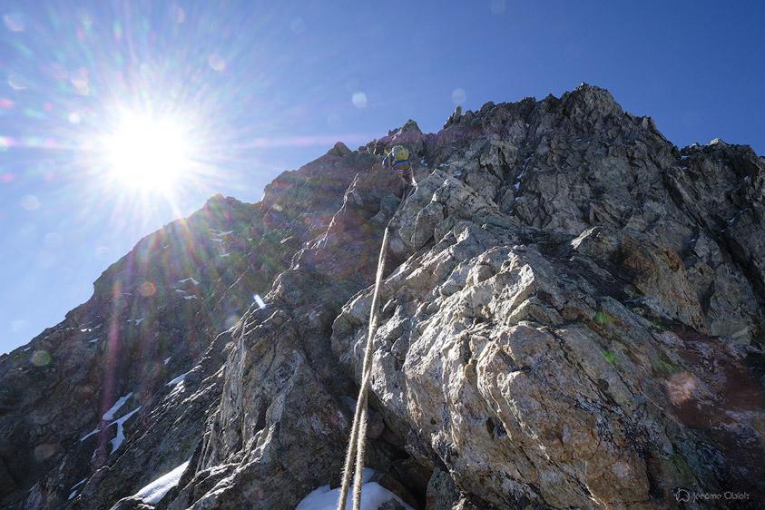 Derniers metres avant le sommet du Grand Pic de la Meije.