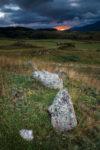 Lever de soleil et pierres