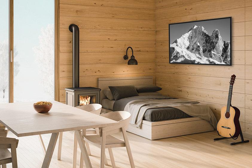 Tableau photo montagne dans un intérieur bois de chalet