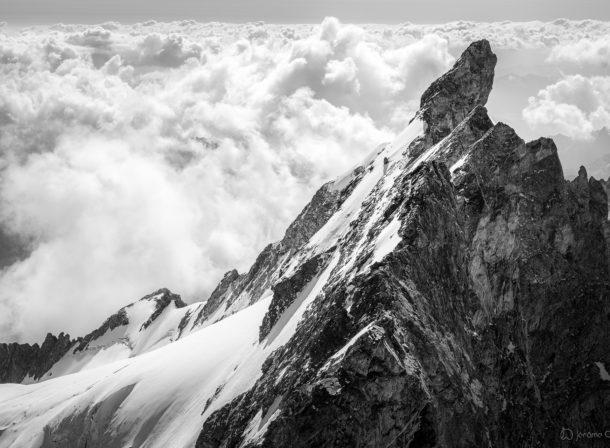 Le Doigt de Dieu et les arêres de la Meije vus depuis le sommet du Grand Pic de la Meije